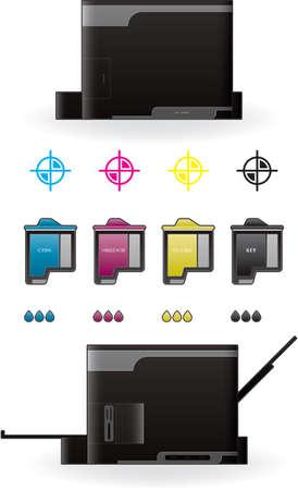 Color Photo InkJet Printer Side View Vector