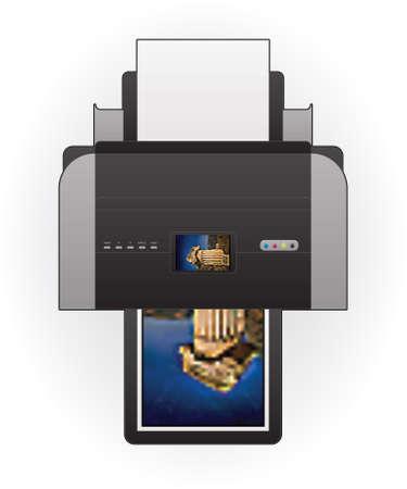 Color Photo InkJet Printer Top View Vector