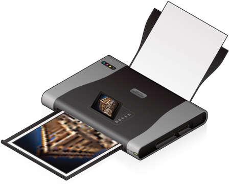3D Isometric Color Photo InkJet Printer Vector