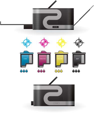 Color Photo InkJet Printer Side View Stock Vector - 9055224
