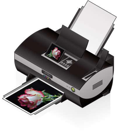 impresora: 3D isom�trico impresora fotogr�fica en Color de inyecci�n de tinta Vectores