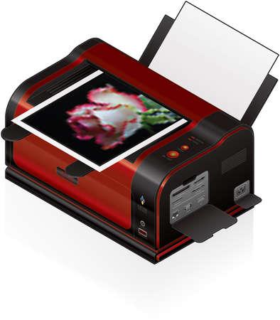 3D Isometric Color LaserJet Printer Vector