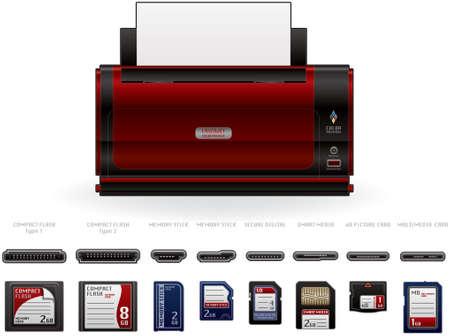 cf: Color LaserJet stampante Front View Vettoriali