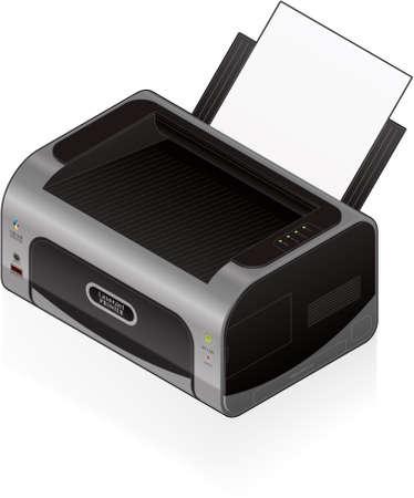 computer peripheral: 3D Isometric Color Photo LaserJet Printer Illustration