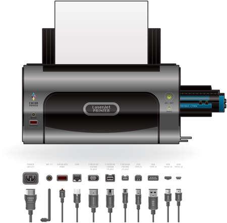 red lan: Inicio de medio Color impresora LaserJet Vectores
