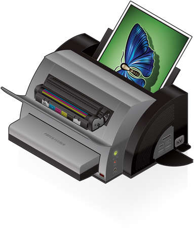 printers: 3D Isometric Color Photo LaserJet Printer Illustration