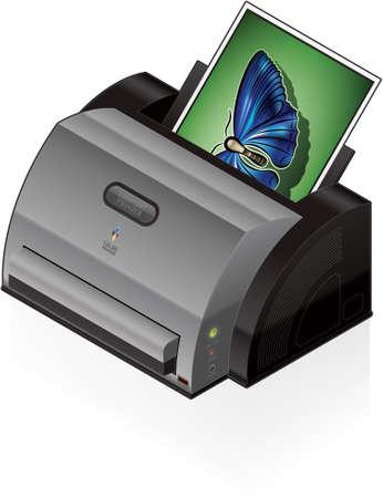 photo hardware: 3D Isometric Color Photo LaserJet Printer Illustration