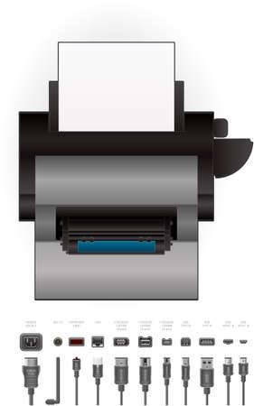 Color Photo LaserJet Printer Vector
