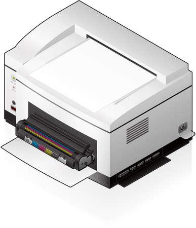 3D Isometric Color Photo LaserJet Printer Vector