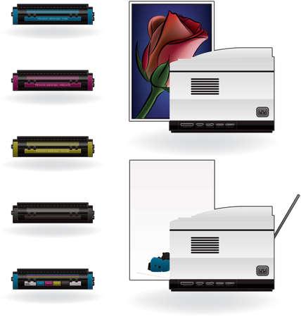 Color Photo LaserJet Printer Side View Vector