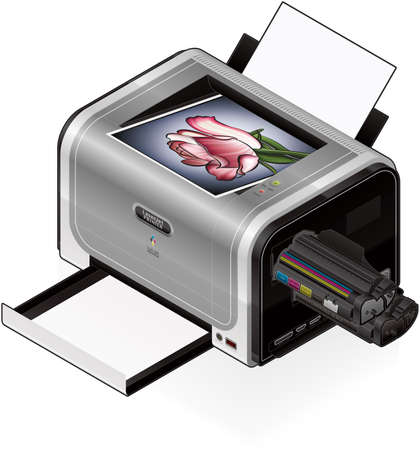 3D Isometric Color Photo LaserJet Printer Vector