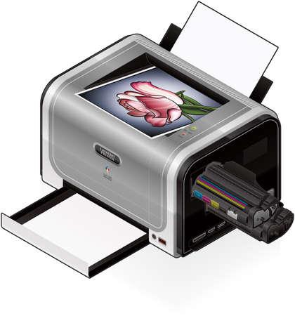 3D Isometric Color Photo LaserJet Printer Stock Vector - 9467675