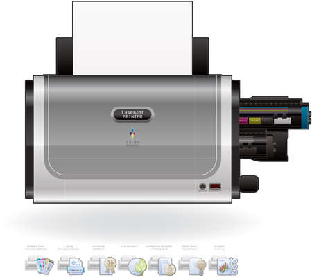 Home Color Photo LaserJet Printer Vector