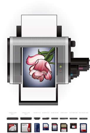 ms: Home Color Photo LaserJet Printer Illustration