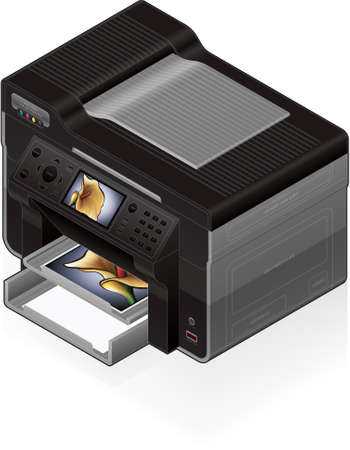 inkjet: 3D Isometric Office Color Photo InkJet Printer Illustration