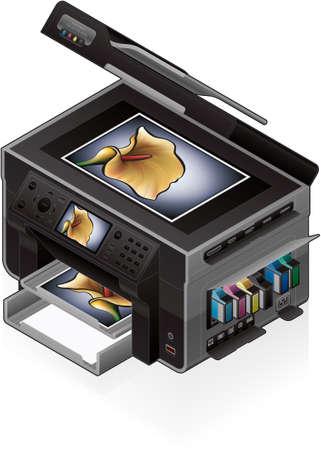 photo printer: 3D Isometric Office Color Photo InkJet Printer Illustration