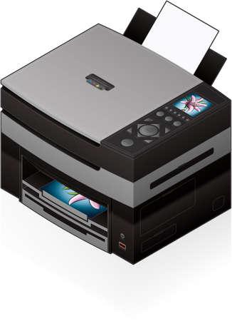 3D Isometric Office Color Photo InkJet Printer Vector