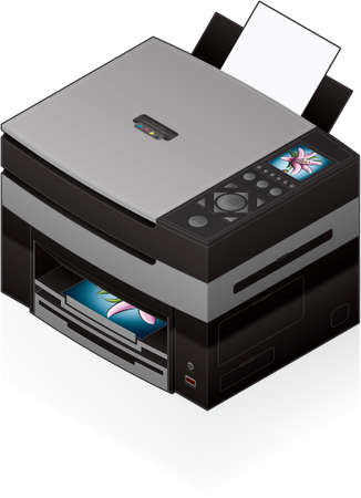 computer peripheral: 3D Isometric Office Color Photo InkJet Printer Illustration