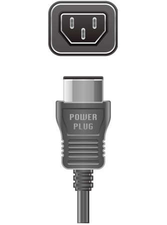 computer socket: Computer Power Cable and Power Slot (part of the Computer Hardware Icons Set)