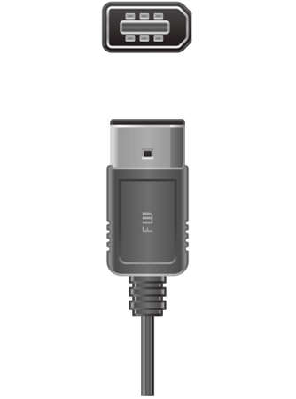 fire plug: 6 pin FireWire 400 plug and Socket (part of the Computer Hardware Icons Set)
