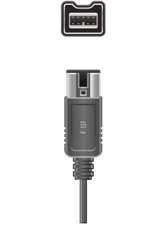 computer socket: 4 pin FireWire 800 plug and Socket  (part of the Computer Hardware Icons Set)