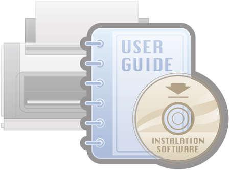설치: 프린터 설치 소프트웨어 가이드 아이콘 (컴퓨터 하드웨어 아이콘 설정의 일부) 일러스트