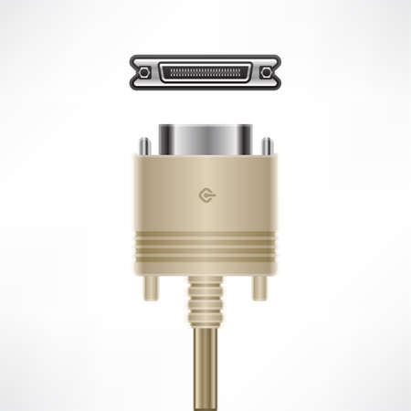 SCSI (Centronics 50 pin) plug & socket Stock Vector - 10129436
