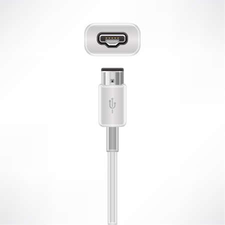 USB mini-A plug & socket Vector