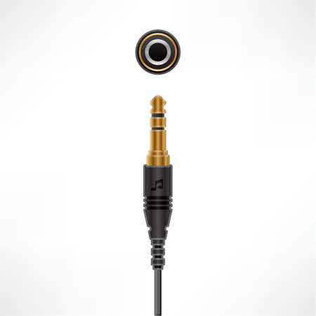 Audio Minijack Cable plug & socket Stock Vector - 10443749