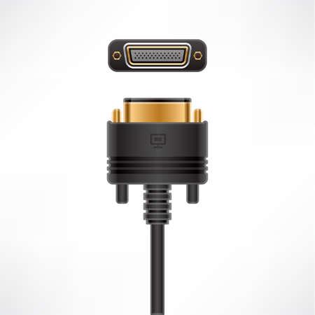 D-Subminiature DD-50 plug & socket Stock Vector - 10505910