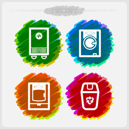 calentador: Utensilios de ba�o y otras cosas diarias relacionadas, de izquierda a derecha: Calentador de gas, lavadora, secadora, calentador. Inker Vector Icons Set, algunos objetos de transparencia utilizados en el dise�o, guarda como un v.10 EPS Vectores