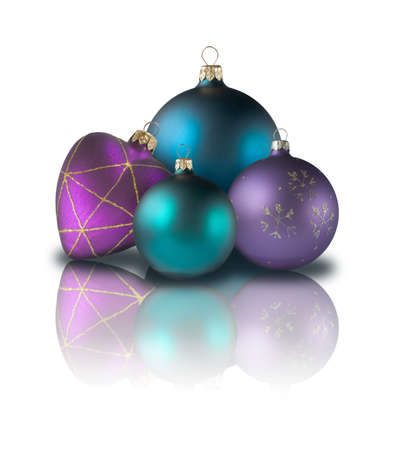 and christmas balls, shadow and reflection Stock Photo