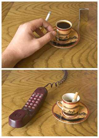 Sunday morning before and after telephone call to work (hand with cigarette, cup of coffee and telephone) photo
