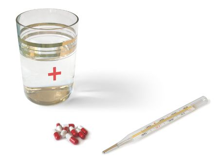 Thermometer, glass and pills - isolated Stock Photo - 646273