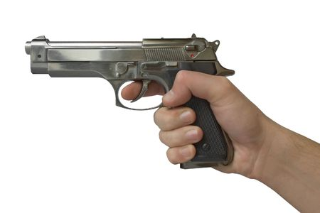 Pistol in hand - isolated (white background) photo