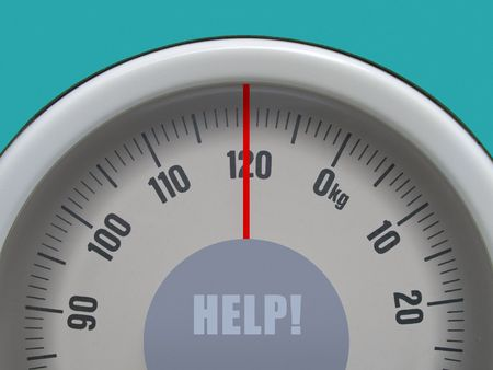 starvation: Weigh-scale on limit - HELP ! Stock Photo