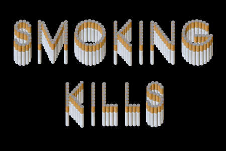 passive: Words Smoking kills from cigarette on black background (isolated)