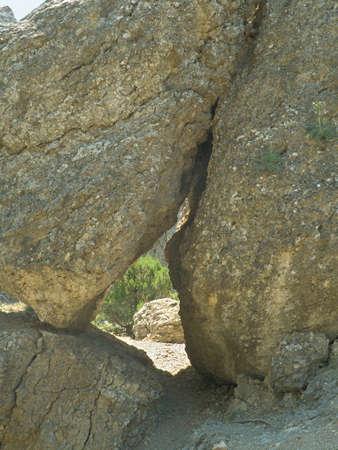 approfondi: Big approfondie fissure dans la roche Banque d'images