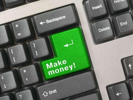 make money: Keyboard - green key Make money, closeup