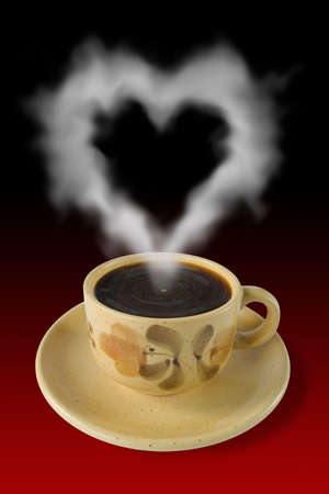Cup of coffee and steam like a heart, red-black background Stock Photo