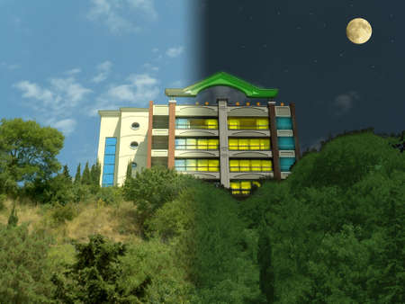 vespers: Day and night, building, sun and moon