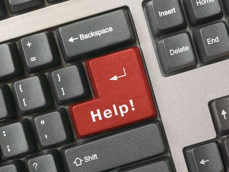 Keyboard - red key Help, closeup photo