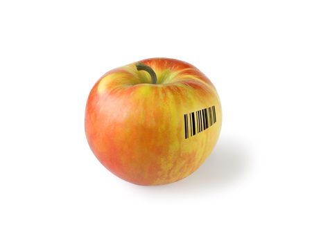 Apple with barcode, isolated on white photo