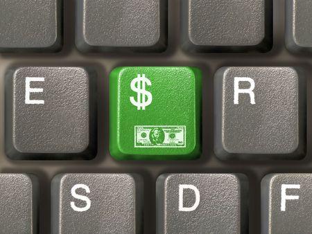 greenbacks: Keyboard (closeup) with Dollar key (green)