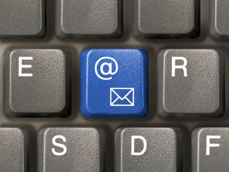 Keyboard (closeup) with E-mail key (blue) Stock Photo - 769534