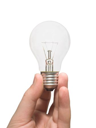 Bulb (lamp) in hand, isolated on white photo