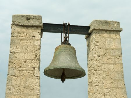 peal: Big bell (monument) in Crimea Stock Photo