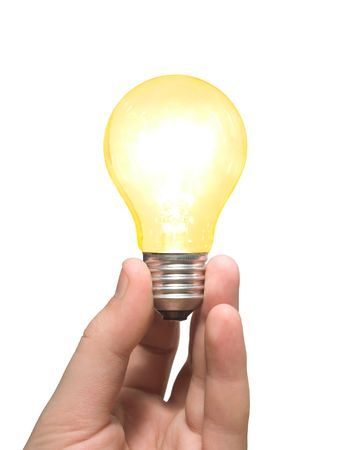 afflatus: Yellow light bulb in hand, isolated on white