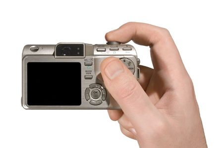 megapixel: Compact camera in hand (isolated, white background)