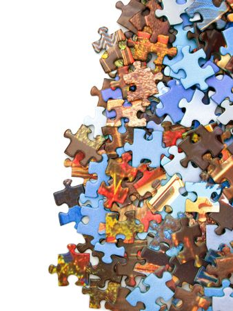Pieces of puzzle, isolated on white background Stock Photo - 769447